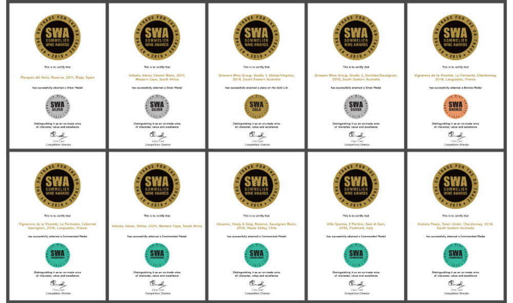 Another great year for LWC Wines at the Sommelier Wine Awards 2018